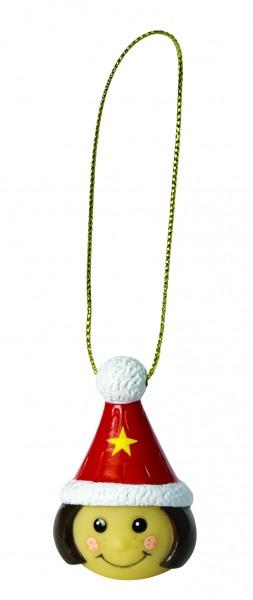Wanderuper Weihnachtswichtelin brünett - bunt (Größe: ca. 4 cm)