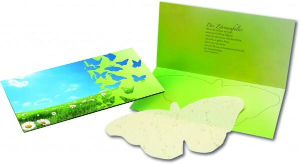 Schmetterlings-Karte, bunte Blumenmischung, 1-4 c inklusive