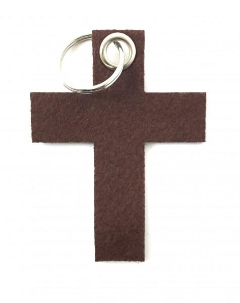 Kreuz groß - Schlüsselanhänger aus Filz in braun - optional mit Gravur / Aufdruck