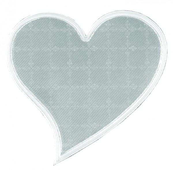 Weichplastiksticker Herz - silber (Größe: ca. 6,9 cm) - optional mit Siebdrucktransfer