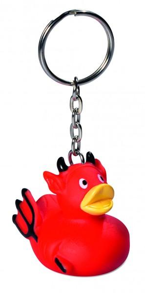 Schlüsselanhänger Quietsche-Ente Teufel - rot (Größe: ca. 4 cm) - optional mit Tampondruck