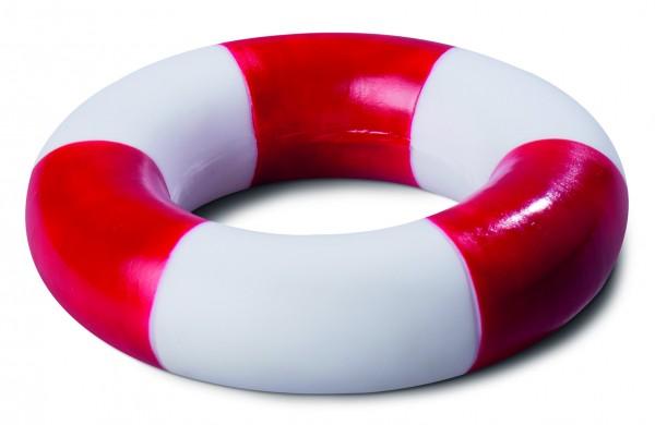 PVC Schwimmring, gestreift - weiß/rot (Größe: ca. 9,5 cm Durchmesser) - optional mit Tampondruck