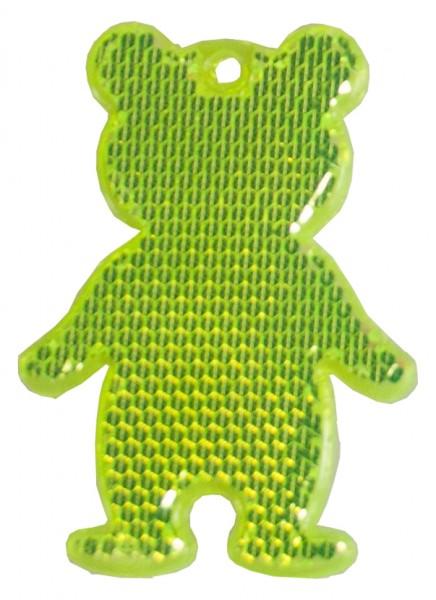 Fußgängerreflektor Bär - neongelb (Größe: ca. 7 cm) - optional mit Tampon-/Siebdruck