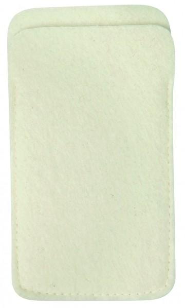 Polyesterfilz Smartphone-Tasche (Filzstärke: ca. 2,5 mm) - weiß - optional mit Siebdrucktransfer