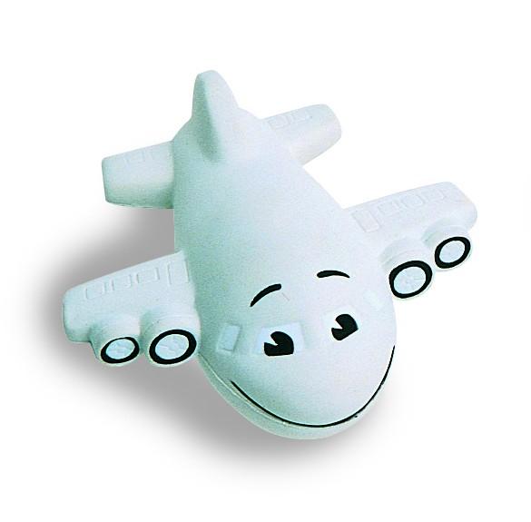 SQUEEZIES® Flugzeug, klein - grau (Größe: ca. 9 cm) - optional mit Tampondruck