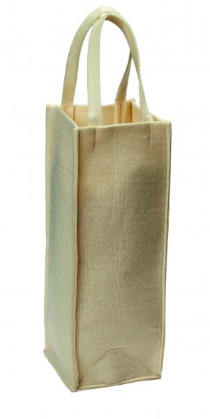 Polyesterfilz Flaschentasche/ Flaschenträger (Filzstärke: ca. 5 mm) - wollweiß - optional mit Siebd