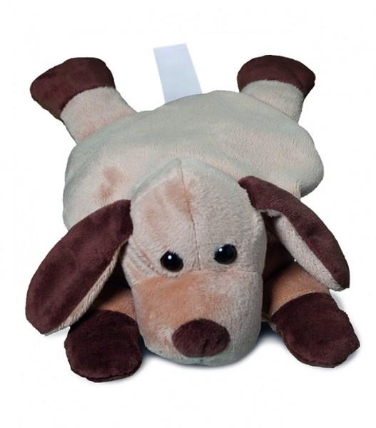 Plüsch Hund für Wärmekissen - braun (Größe: ca. 28 cm) - optional mit Tampondruck, Siebdrucktransfer