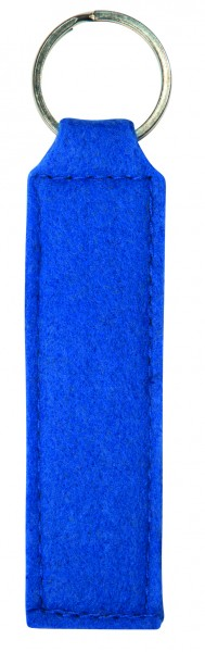 Polyesterfilz Schlüsselanhänger Rechteck (Filzstärke: ca. 2,5 mm) - blau - optional mit Siebdrucktr