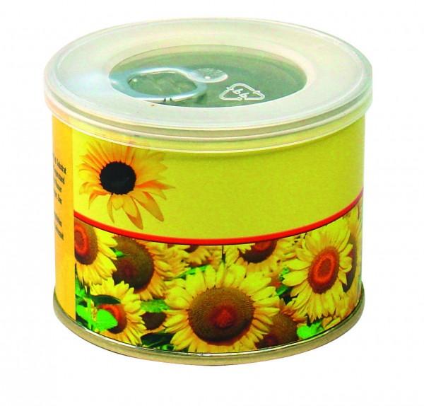 Sonnen-Dose, Ø 73 x 58 mm, Zwergsonnenblume, 1-4 c Digitaldruck inklusive