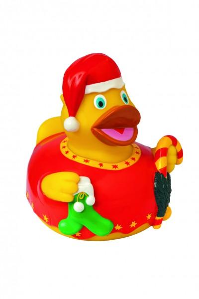 Quietsche-Ente Weihnachten - gelb (Größe: ca. 8 cm) - optional mit Tampondruck