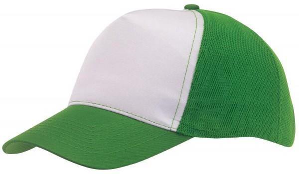 5-Panel-Baseball-Cap BREEZY in dunkelgrün, weiß