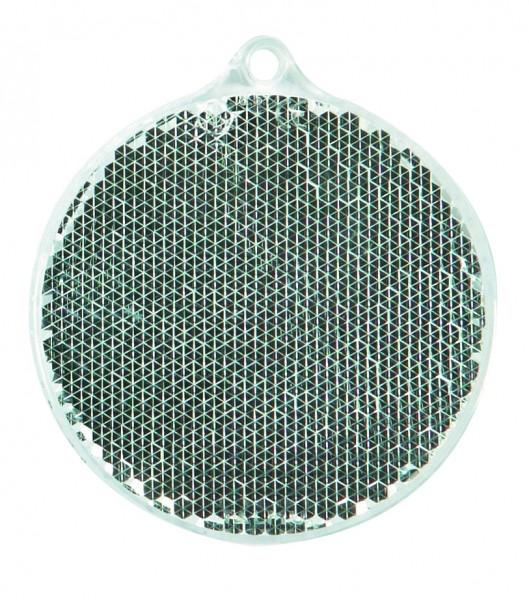 Fußgängerreflektor Rondell - weiß (Größe: ca. 5,5 cm) - optional mit Tampon-/Siebdruck