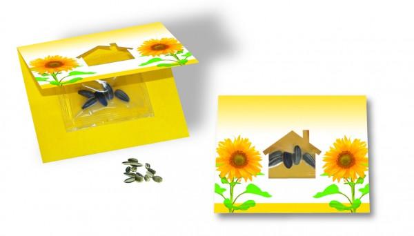 Samenkärtchen Haus, Zwergsonnenblume, 1-4 c Digitaldruck inklusive