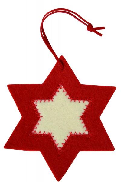 Filzanhänger Stern, groß (Filzstärke: 5 mm) - rot/weiß - optional mit Siebdrucktransfer