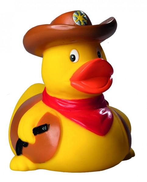 Quietsche-Ente Cowboy - bunt (Größe: ca. 8 cm) - optional mit Tampondruck