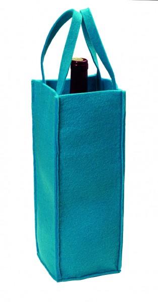 Polyesterfilz Flaschentasche/ Flaschenträger (Filzstärke: ca. 5 mm) - blau - optional mit Siebdruck