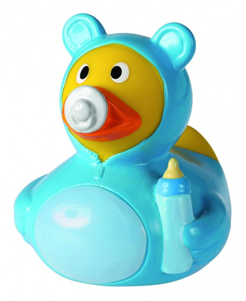 Quietsche-Ente Baby Junge - hellblau (Größe: ca. 8 cm) - optional mit Tampondruck