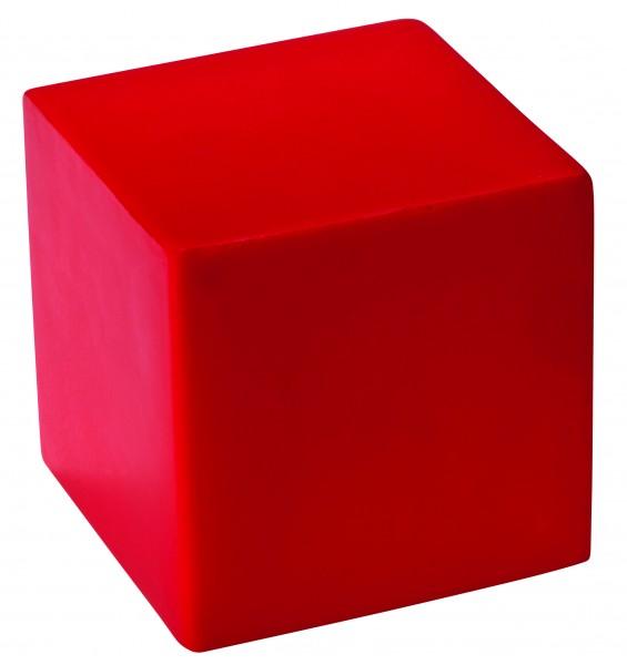 SQUEEZIES® Würfel - rot (Größe: ca. 5 cm Kantenlänge) - optional mit Tampondruck