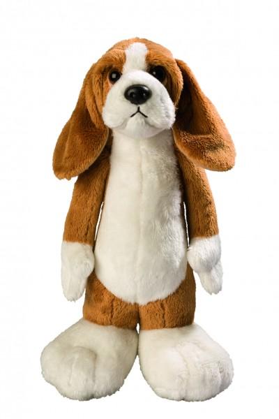 Stehender Hund Beagle James - braun/weiß (Größe: ca. 25 cm) - optional mit Siebdrucktransfer, Direkt