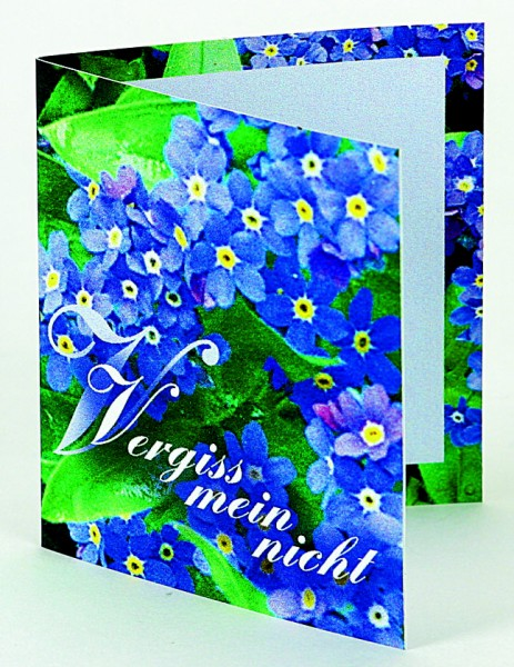 Klappkärtchen Vergiss-mein-nicht, Vergissmeinnicht, 1-4 c Digitaldruck inklusive