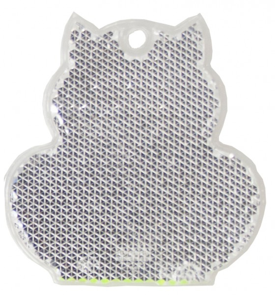 Fußgängerreflektor Katze - weiß (Größe: ca. 6 cm) - optional mit Tampon-/Siebdruck