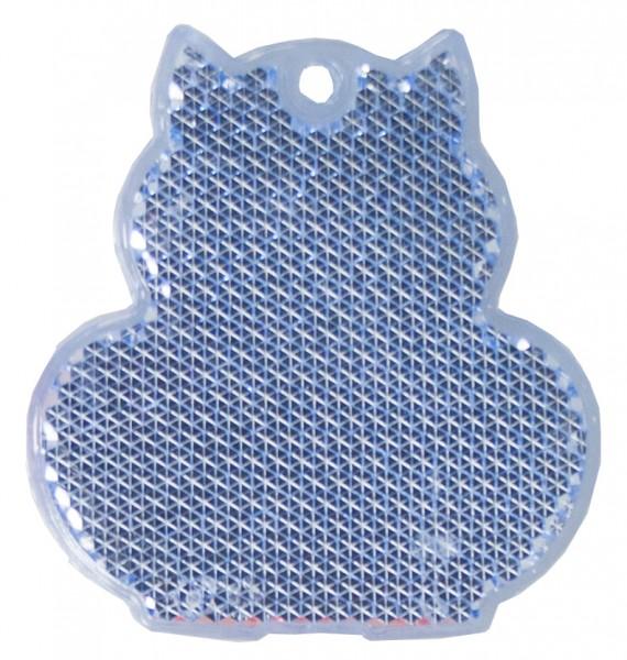 Fußgängerreflektor Katze - blau (Größe: ca. 6 cm) - optional mit Tampon-/Siebdruck