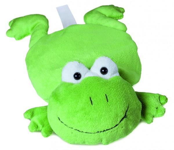 Plüsch Frosch für Wärmekissen - grün (Größe: ca. 28 cm) - optional mit Tampondruck, Siebdrucktransfe