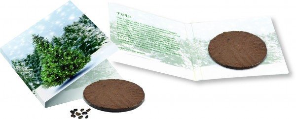 Wachstumskärtchen Weihnachtsbaum, Fichte, 1-4 c Digitaldruck inklusive