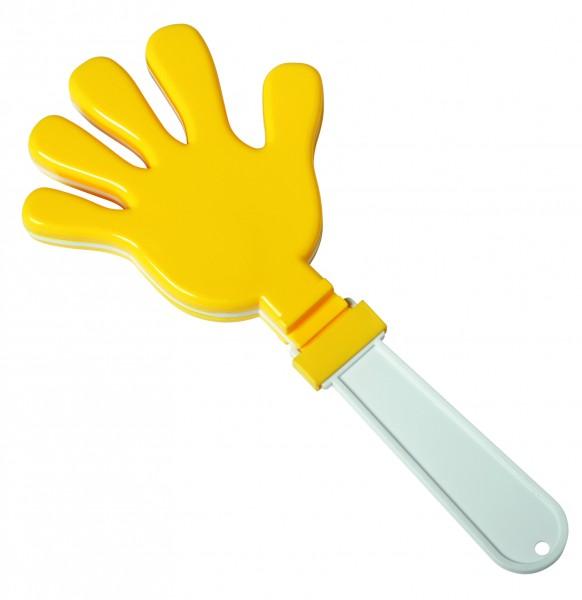 Klapperhand - gelb/weiß (Größe: ca. 29 cm) - optional mit Tampondruck