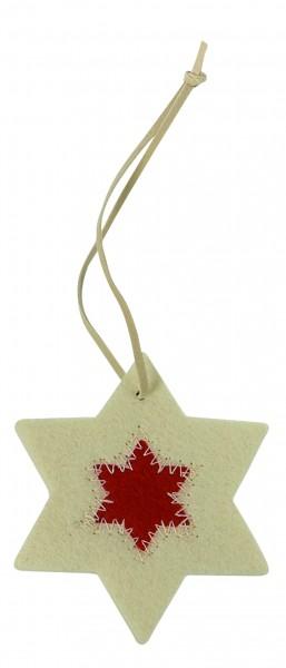 Filzanhänger Stern, klein (Filzstärke: 5 mm) - weiß/rot - optional mit Siebdrucktransfer
