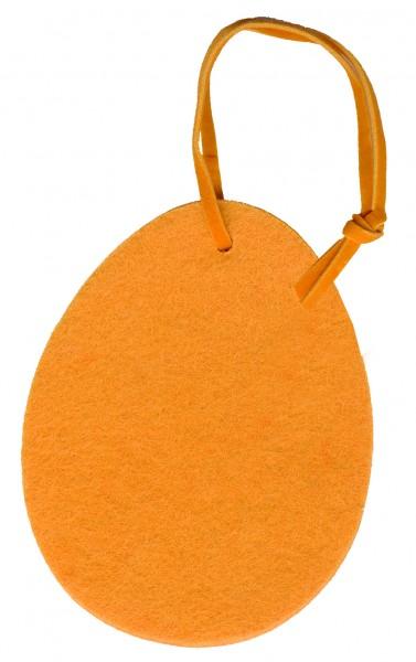 Polyesterfilz Anhänger Osterei groß (Filzstärke: 5 mm) - gelb - optional mit Siebdrucktransfer