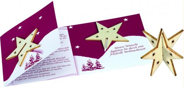 Sternen-Karte mit Holz-Stern, ohne Kuvert, 1-4 c Digitaldruck inklusive