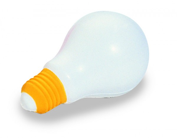 SQUEEZIES® Glühbirne - weiß/gelb (Größe: ca. 5 cm) - optional mit Tampondruck