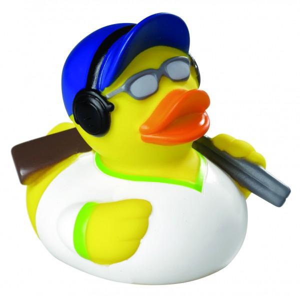 Quietsche-Ente Sportschütze - gelb (Größe: ca. 8 cm) - optional mit Tampondruck