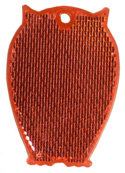 Fußgängerreflektor Eule - rot (Größe: ca. 6,5 cm) - optional mit Tampon-/Siebdruck