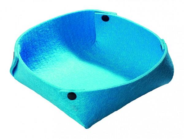 Filzkorb mit Druckknöpfen - blau - optional mit Siebdrucktransfer