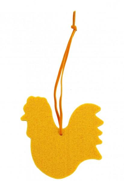 Polyesterfilz Anhänger Gockel groß (Filzstärke: 5 mm) - gelb - optional mit Siebdrucktransfer