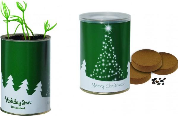 Weihnachtsbaum-Dose, Ø 73 x 110 mm, Fichte, 1-4 c Digitaldruck inklusive