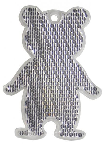 Fußgängerreflektor Bär - weiß (Größe: ca. 7 cm) - optional mit Tampon-/Siebdruck