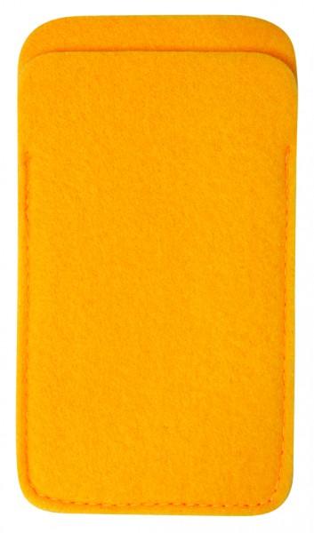 Polyesterfilz Smartphone-Tasche (Filzstärke: ca. 2,5 mm) - gelb - optional mit Siebdrucktransfer