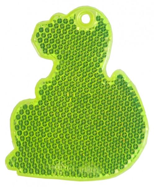 Fußgängerreflektor Dino - neongelb (Größe: ca. 7 cm) - optional mit Tampon-/Siebdruck