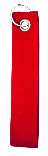 Polyesterfilz-Schlaufe, klein (Filzstärke: ca. 2,5 mm) - rot - optional mit Siebdrucktransfer