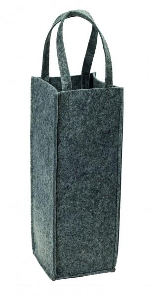 Polyesterfilz Flaschentasche/ Flaschenträger (Filzstärke: ca. 5 mm) - grau - optional mit Siebdruck