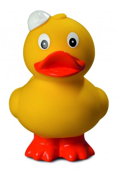 Quietsche-Ente Bauhelm, stehend - gelb (Größe: ca. 9 cm) - optional mit Tampondruck
