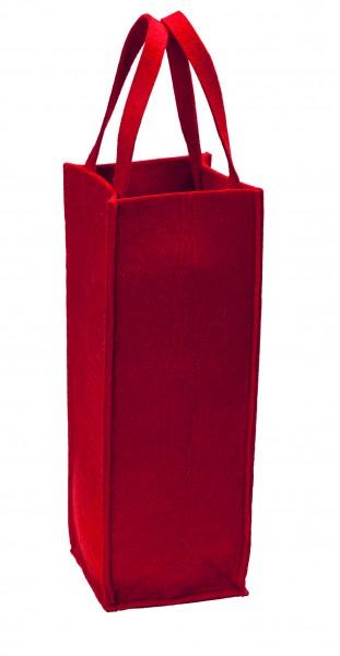 Polyesterfilz Flaschentasche/ Flaschenträger (Filzstärke: ca. 5 mm) - rot - optional mit Siebdruckt