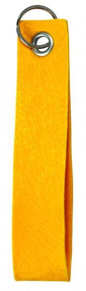 Polyesterfilz-Schlaufe Schlüsselband, groß (Filzstärke: ca. 2,5 mm) - gelb - optional mit Siebdruck