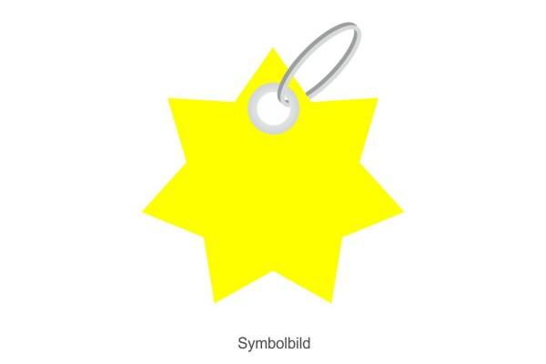 Filz Schlüsselanhänger - Stern - 7 Ecken - optional mit Aufdruck / Schlüsselring / Werbekarte