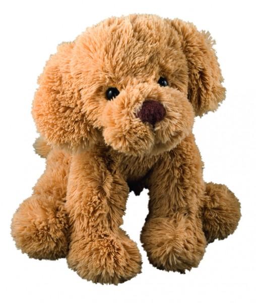 Plüsch Hund Nico groß - braun (Größe: ca. 24 cm) - optional mit Siebdrucktransfer, Direkttransfer