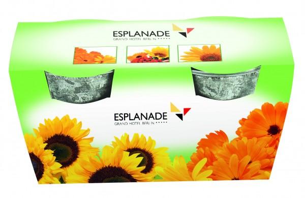 Duo Zinkeimerchen Blumen, Zwergsonnenblume u.Ringelblume, 1-4 c Digitaldruck inkl. - Werbeaufdruck: