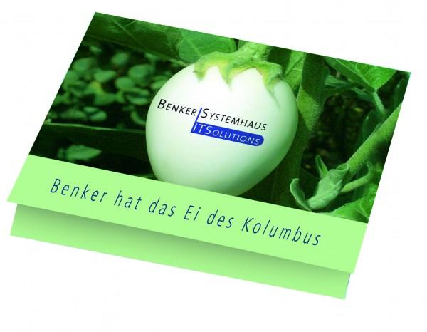 Klappkärtchen Eierbaum, 90 x 60 mm Eierbaumsamen, 1-4 c Digitaldruck inklusive